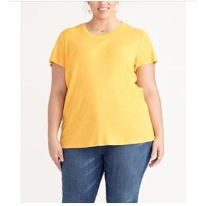 New Rachel Roy Shirt Sleeve marigold tee w/ slit